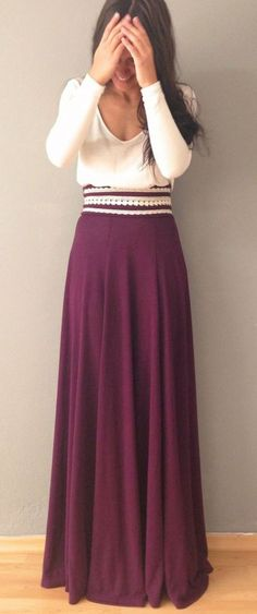 Love the wine colored skirt
