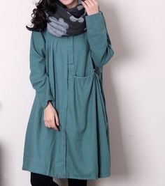 Linen pleated babydoll long sleeved dress/ Green beans by MaLieb by Lieb Ma