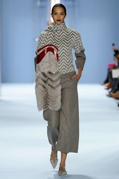 Look 21 - Lais - Dew gray wool chevron top and scarf with fox, broadtail and deep red alligator detail and trousers