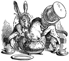 The March Hair and the Mad Hatter trying to stuff the Doormouse into a teapot :)