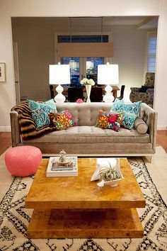 the lamps, the couch, the pouf!
