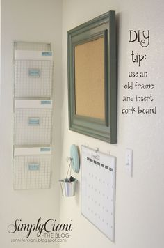 love this organization, including thrifted frame corkboard and DIY wood plaque/cabinet knob hanger for bucket