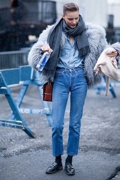 Model street style at New York fashion week autumn/winter '15/'16