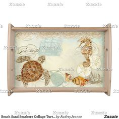 Beach Sand Seashore Collage Turtle Sea Horse Shell Serving Tray