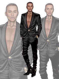 Olivier Rousteing  One of my favorite fashion designer !! #digitaldrawing by David Mandeiro Illustrations