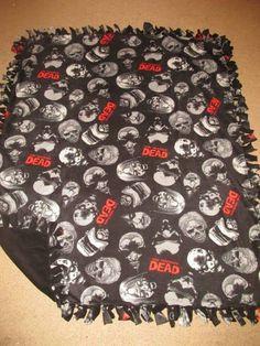 The Walking Dead w/ Black back Fleece Tie Blanket