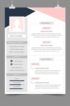 Your resume is one of your best marketing tools. The goal of your resume is to tell your individual story in a compelling way that drives prospective employers to want to meet you. Cv Resume Template, Resume Design Template, Free Cv Template, Portfolio Resume, Portfolio Design, Portfolio Web, Design Social, Web Design, Cv Inspiration
