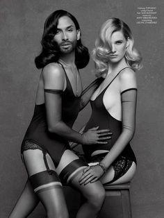 Conchita Wurst poses alongside pregnant top model Ashleigh Good. Copyright: Karl Lagerfeld/ CR Fashion Book