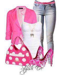 Barbie pink women's fashion outfit idea