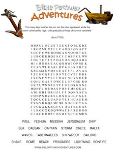 ⚓️A Word Search puzzle for kids from the story, Shipwrecked!