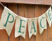 Peace Burlap Christmas Banner