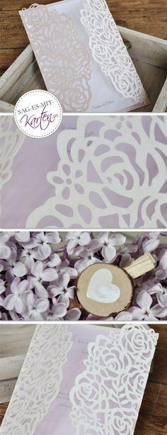 Hochzeitseinladunge Lasercut Rosen in rose creme