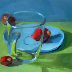 """Daily Paintworks - """"Clear Glass Mug (A New Setting)"""" - Original Fine Art for Sale - © Robin Rosenthal"""