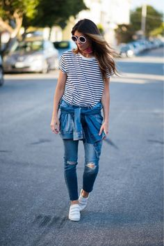 Striped Tee + Denim | Fourth of July fashion | Fourth of July style ideas | Fourth of July outfit ideas | what to wear for the 4th of July || The Girl in the Yellow Dress Looks Style, Mom Style, Girl Style, Trendy Outfits, Cool Outfits, Fashion Outfits, Mom Fashion, 4th Of July Outfits, Summer Outfits