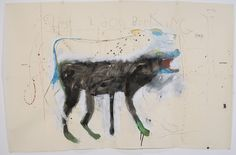 Rick  Bartow - Ghost 2 Dog Barking, 2014 Formatting Painting casein, graphite, watercolor, gouache on japanese paper    50 x 76 in PIN: BAR2739   photo: Rebekah Johnson     $ 15,000.00