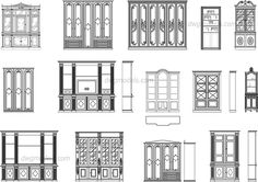 Bookcases elevation, front - CAD Blocks, free dwg file.