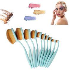 10 Pcs Toothbrush Makeup Brushes - Blue