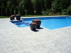Ideas for stamped concrete patio colors swimming pools Semi Inground Pool Deck, Swimming Pools Backyard, Pool Decks, Pool Pavers, Concrete Pool, Stamped Concrete, Concrete Stamping, Pool Remodel, In Ground Pools