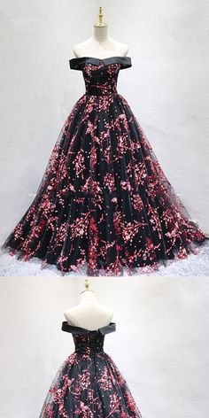 Chic Black Tulle Off Shoulder Floor Length Long Prom Dress,Party Dresses, Evening Dresses,PDY0317#prom dresses#