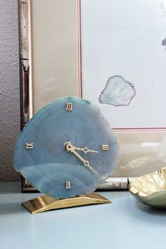 Cerulean Blue Hand-Cut Brazilian Agate Stone Roman Numeral Clock on Brass Base in Great Vintage Condition! Perfect addition to your home office or