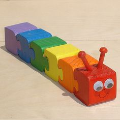 Rainbow Caterpillar Wooden 3d Puzzle - Ready to ship