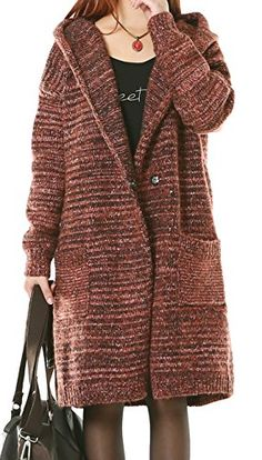 Allbebe Womens Winter Casual Loose Sweater Hoodies Knit Cardigan Long Coat Red -- Read more at the image link.