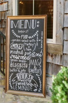 chalkboard menu @weddingchicks