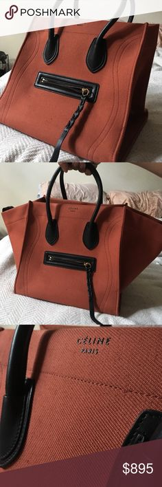 """CÉLINE """" Red Ochre """" Linen Canvas Phantom Heavy yet lightweight French Linen Canvas with black Calfskin. Bag is practically in perfect condition. The color is the resemblance of brick. Very different and beautiful when worn with all black. I got this bag from Bergdorf Goodman. Celine Bags Totes"""
