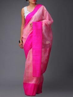 Pink-Golden Banarasi Dupion Saree by Ekaya