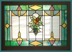 arts and craft stained glass | here is a classic arts and crafts style stained glass window circa ...