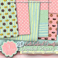 #summer #donut #doughnut #soft #lightcolors #cute #baby #sweet #dots #checkered #stripes #handdrawn #instant #sales #50%