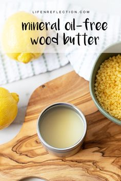 Homemade wood butter can help prevent drying and cracking. It can be used for wood boards, wood spoons, wood handles on utensils and even for bamboo cutting board care. Diy Cutting Board, Wood Cutting Boards, Wood Boards, Natural Cleaners, Cleaning Recipes, Butter Recipe, Natural Cleaning Products, Diy Food, Safe Food
