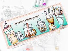 Mama Elephant Stamps, Color Copies, Copic Sketch Markers, Bone Folder, Cute Crafts, Fun Drinks, Milkshake, Cardmaking, Kitty