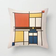 Mondrian Who Throw Pillow by Perdita - $20.00