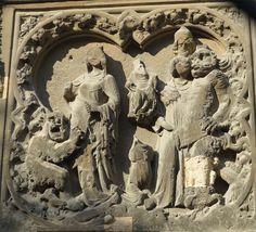 Cathédrale Notre-Dame de Paris, taille de la Pierre angulaire ou la légende du moine Théophile qui vend son âme au diable.