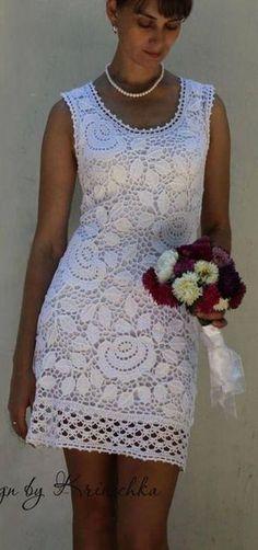 what a beautiful irish crochet dress. Crochet Skirts, Crochet Blouse, Crochet Clothes, Knit Dress, Dress Skirt, Lace Dress, Beau Crochet, Moda Crochet, Irish Crochet