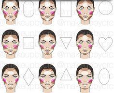 Make-up Highlight/Contour/Blush face chart Face Makeup chart Face Face Makeup chart HighlightContourBlush Makeup Face Contouring, Contour Makeup, Contouring And Highlighting, Skin Makeup, Makeup Brushes, Contour Face, Contouring Guide, Makeup Emoji, Face Makeup Tips