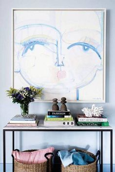 entryway design entryway with console and blue woman painting