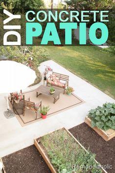 DIY concrete patio @Remodelaholic