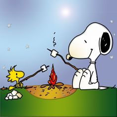 Snoopy and Woodstock roasting marshmellows