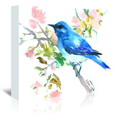 East Urban Home Mountain Bluebird and Spring Blossom Painting Print on Wrapped Canvas Size: