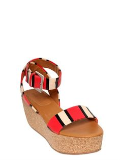 SEE BY CHLOE' - SANDALI IN PELLE PATCHWORK E SUGHERO 70MM - LUISAVIAROMA - LUXURY SHOPPING WORLDWIDE SHIPPING - FLORENCE