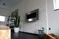 White stone fireplace wall | White Rock Panel | Natural Stacked Stone Veneer for Wall Cladding