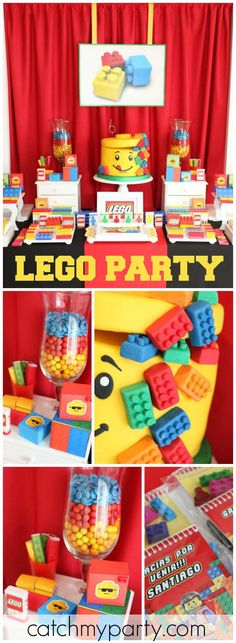 What a fun and colorful Lego birthday party! See more party ideas at CatchMyParty.com!