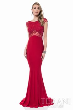jersey   evening sheath with sequin embellished bodice and nude illusion detailing at   the cap sleeve, midrift, and back