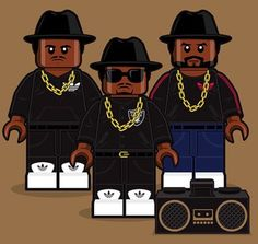 LEGO Design of the Greatest Rap Group Of All Times... RUN DMC. They were the first Rap Group to Combine Rap and Rock N Roll.