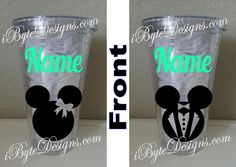 Set of 2 Custom Mickey and Minnie Mouse Happily by iByteDesigns Plastic Tumblers, Shot Glass, Minnie Mouse, Canning, Unique Jewelry, Tableware, Handmade Gifts, Design, Vintage