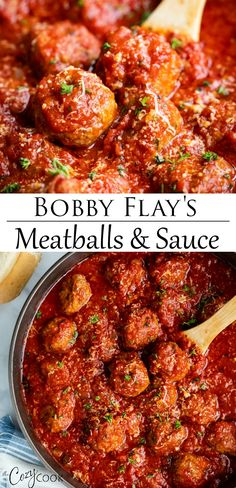This Italian Meatball Recipe from Bobby Flay is easy to make ahead of time on th. This Italian Meatball Recipe from Bobby Flay is easy to make ahead of time on the stove top and reheat in the Crock Pot, and it makes a great freezer meal! Sauce Marinara, Meatball Marinara, Meatball Sauce, Meatball Recipes, Beef Recipes, Cooking Recipes, Meatball Meals, Healthy Italian Recipes, Meatballs In Sauce