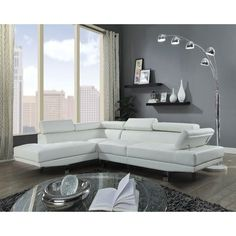 Living Room: Rules in Styling A Sectional Sofa, This is Very Easy! wayfair sectional sofa chaise lounge Home Interior Design, This Is It! White Sectional, Leather Sectional Sofas, Sectional Furniture, Living Room Sectional, Acme Furniture, Leather Sofa, Couches, Reclining Sectional, White Leather