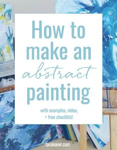 How to make an abstract painting – Tara Leaver How to make an abstract painting + checklist – includes ideas and tips, visual examples, a video and a free checklist! Acrylic Painting Techniques, Painting Lessons, Art Lessons, Painting Abstract, How To Abstract Paint, Abstract Portrait, Knife Painting, Art Techniques, Abstract Watercolor Tutorial